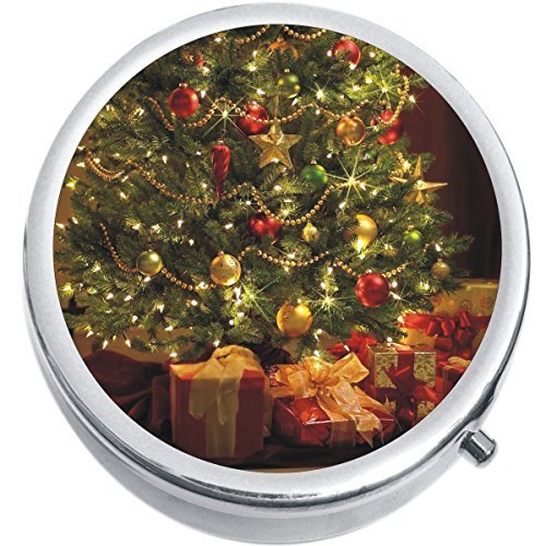 Primary image for Christmas Tree Presents Medicine Vitamin Compact Pill Box