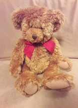 """Russ Berrie Brown Sutton The Teddy Bear w/ Red Bow Plush Stuffed Animal 15"""" - $13.45"""