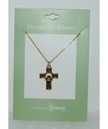 Roman 60082 Celtic Cross Claddagh Necklace Gold Color 1 Inch - $13.94