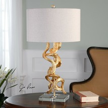 NEW BRIGHT GOLD LEAF TABLE LAMP CRYSTAL FOOT LINEN SHADE WOOD VINE STYLE... - $257.40
