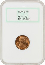 1929-S 1c NGC MS64 RD (OGH) - Old Green NGC Holder - Lincoln Cent - $87.30