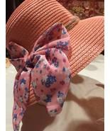 Vintage Coral Pink Straw Ribbon Wide Brim Cloche Hat - $31.68