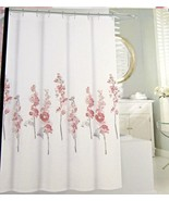 Tahari Hollyhock Floral Pink and Gray on White Shower Curtain - $31.00