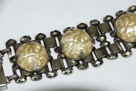 "Vintage Bracelet Antiqued Silver Tone  with Large Baroque Pearl Accents 7"" - $19.75"