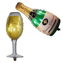 AnnoDeel Wine Glass and Champagne Balloons, Large Size Thickened Foil He... - $8.43