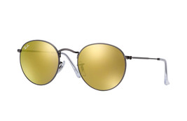 New RAY BAN ROUND METAL RB 3447 029/93 Matte Gunmetal w/Gold Mirror 50mm - $186.13