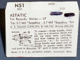 Astatic N-51 PHONOGRAPH NEEDLE for Astatic 133 Cartridges 164-S7 image 2