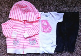 Girl's Size 3 M 0-3 Months Carter's Pink White Floral Jacket, Leggings +... - $20.00