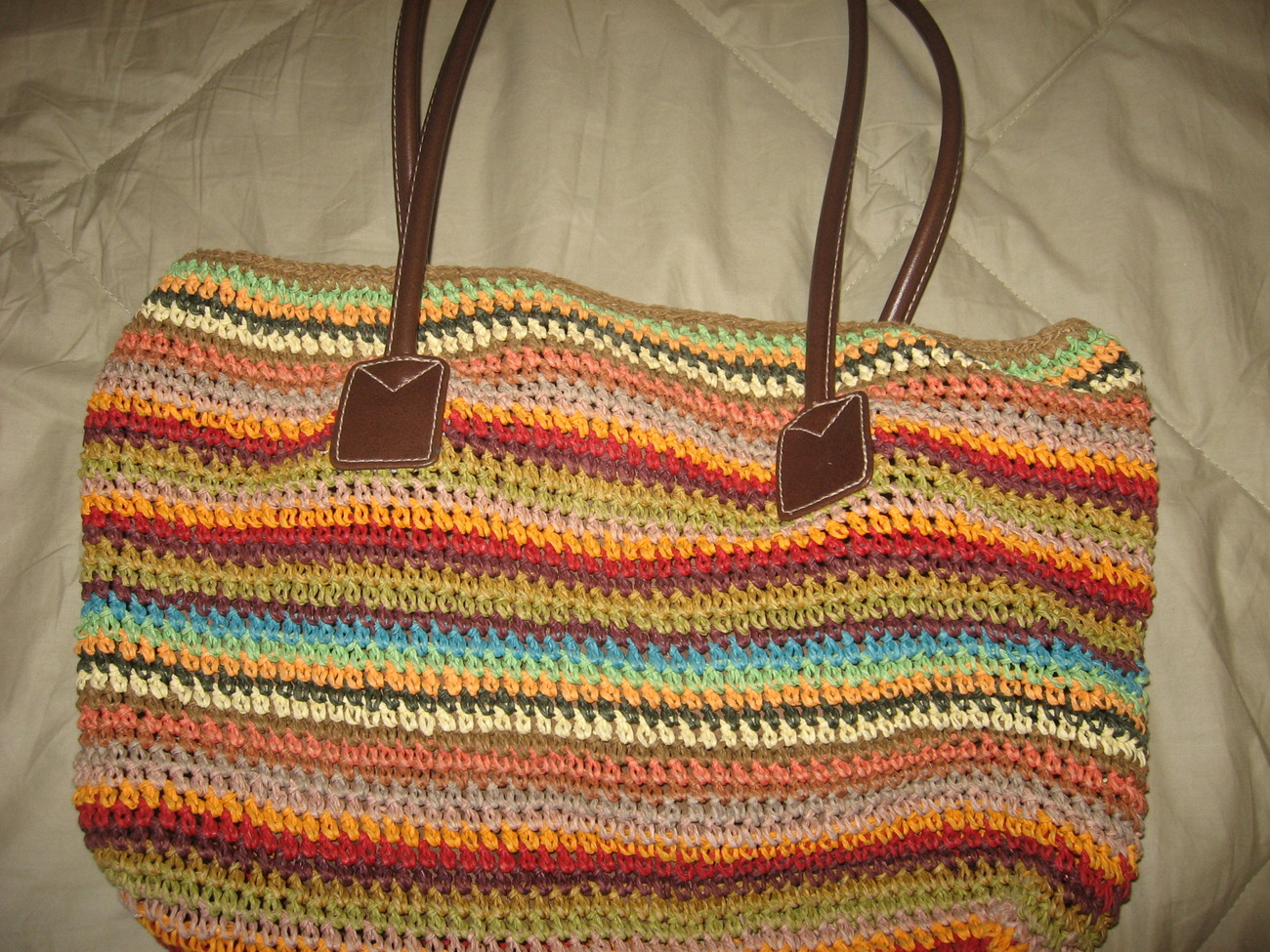 Straw Handbag by Charter Club with colorful stripes