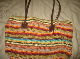 Straw Handbag by Charter Club with colorful stripes - $5.95