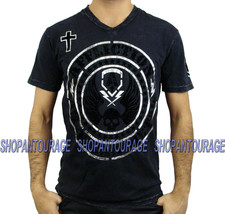 AFFLICTION Hellion A11251 New Men`s V-neck Black T-shirt - $49.30