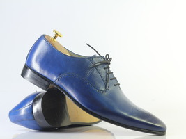 Handmade Men's Blue Leather Heart Medallion Lace Up Dress/Formal Oxford Shoes image 5