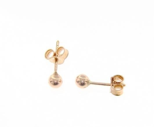 18K ROSE GOLD EARRINGS WITH MINI 4 MM BALLS BALL ROUND SPHERE, MADE IN ITALY
