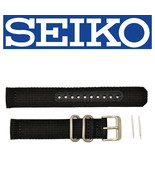 Genuine  SEIKO SNK809 18mm Weaved Nylon Black Watch band Strap 4K13ZZ - $18.95