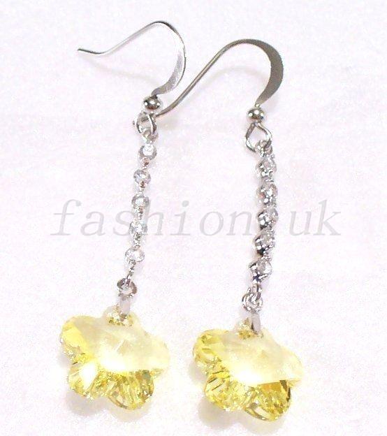 Women White Gold Plated Red Swarovski Element Crystal Flower Long Hooks Earrings