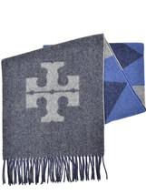 Tory Burch Womens Navy Blue T Logo Wool Cashmere Carnavalet Oblong Scarf... - €167,77 EUR