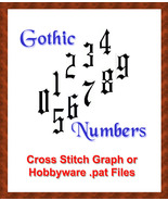 GOTH Cross Stitch Classic Gothic Numbers - $3.00
