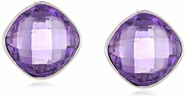New Amazon Col. Sterling Silver 925 12mm 7Ctw Cushion Amethyst Stud Earrings NWT