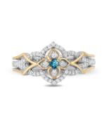 Enchanted Disney Jasmine Swiss Blue Topaz  Diamond Ring in Sterling Silver - £57.83 GBP