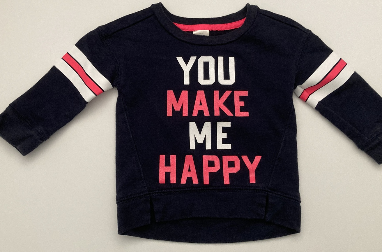 "OshKosh, Baby Girl Clothes, SZ 12 MO, ""YOU MAKE ME HAPPY"" Navy Blue Sweatshirt - $8.00"