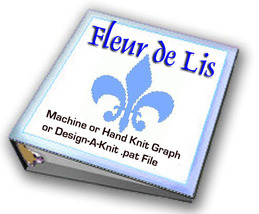 Fleur de Lis Hand Knit Graph or Machine Knit De... - $1.08