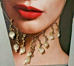"""Vinrage JANNY Necklace with Seashell Leaves and Stars Dangle Stations 16""""  - $46.55"""