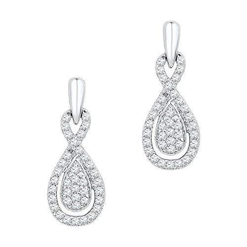 Primary image for 10k White Gold Womens Diamond Oval-shape Dangle Screwback Earrings 1/3 Cttw