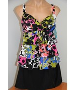 NWT Swim Solutions Swimsuit  Bikini Tankini 2 pc set Size 10 Skirt Barce... - $38.59