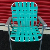 Vintage Aluminum Webbed Folding Lawn Beach Camp Patio Backyard Chair Tea... - €21,93 EUR
