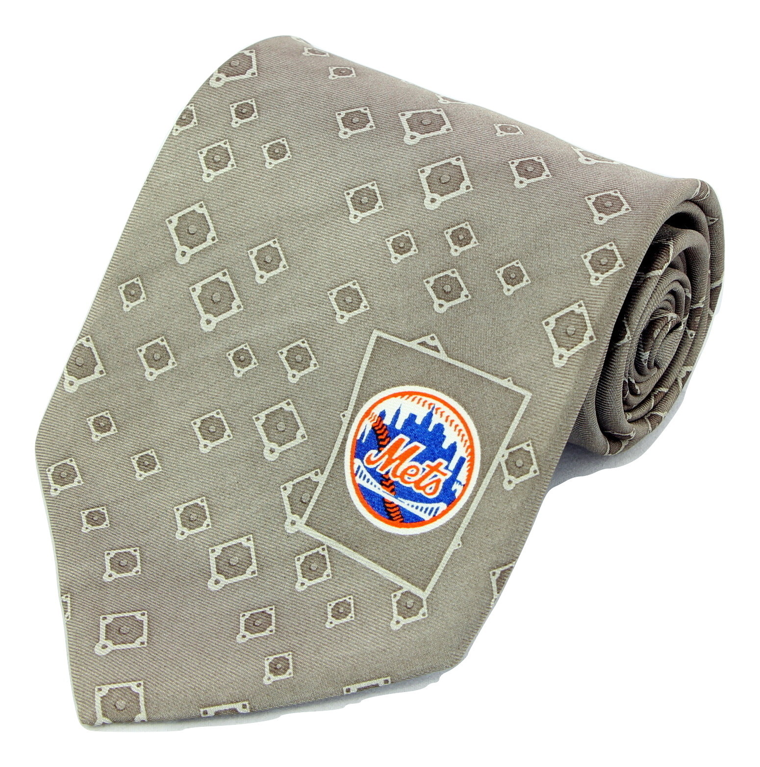 New York Mets Mens Necktie MLB Baseball NY Logo Sports Fan Silk Tan Neck Tie