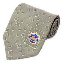 New York Mets Mens Necktie MLB Baseball NY Logo Sports Fan Silk Tan Neck... - $32.95