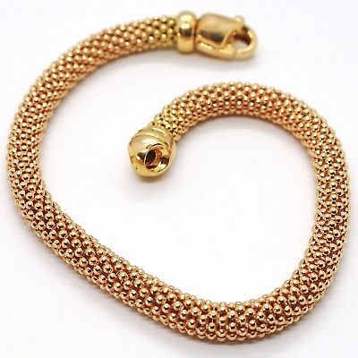 18K ROSE GOLD BRACELET, 18.5 CM, 7.3 INCHES, BASKET WEAVE TUBE, 5 MM THICKNESS