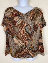Dressbarn Womens Plus Size 2X Paisley Cowl Neck Blouse Short Sleeve Stretch - $19.80