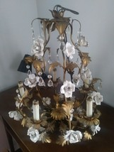 Elegant Early 1900's Chandelier Prismed with White Porcelain French Rose... - $1,100.00