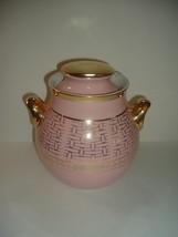 Hall Cookie Jar Pink Gold Basketweave Eva Ziesel Big Ear - $59.99