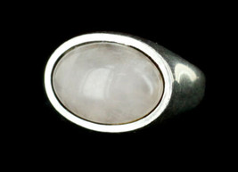 Vintage Modernist Cellini Sterling Rose Quartz Signet Ring sz 5 - $58.49