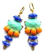 Mint Blue Earrings, Dangle Earrings, Multicolor Statement Earrings, Mint - $30.00