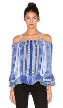 Parker Peasant Silk Blouse Top Cold Shoulder Womens S Dipsy Blue Olympos - $27.72
