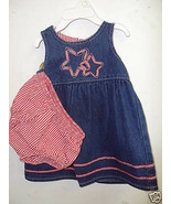 TODDLER GIRLS DRESS W/BLOOMERS- 12 MONTHS-RED/BLUE - $8.41