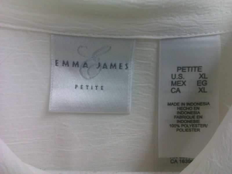 WOMENS-PETITE-TOP-SIZE XL-CREAM COLOR=EMMA JAMES-NEW
