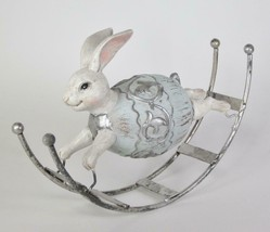 Light Blue & Silver Rocking Bunny Figurine Easter Tabletop Decor - $28.66