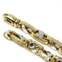 """18K YELLOW WHITE GOLD CHAIN, BIG OVAL CABLE SQUARED ALTERNATE LINK 7mm, 24"""" image 4"""