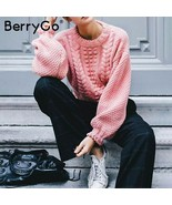 BerryGo Sweet pink twist hollow out women knitted sweater Plus size o ne... - $44.99
