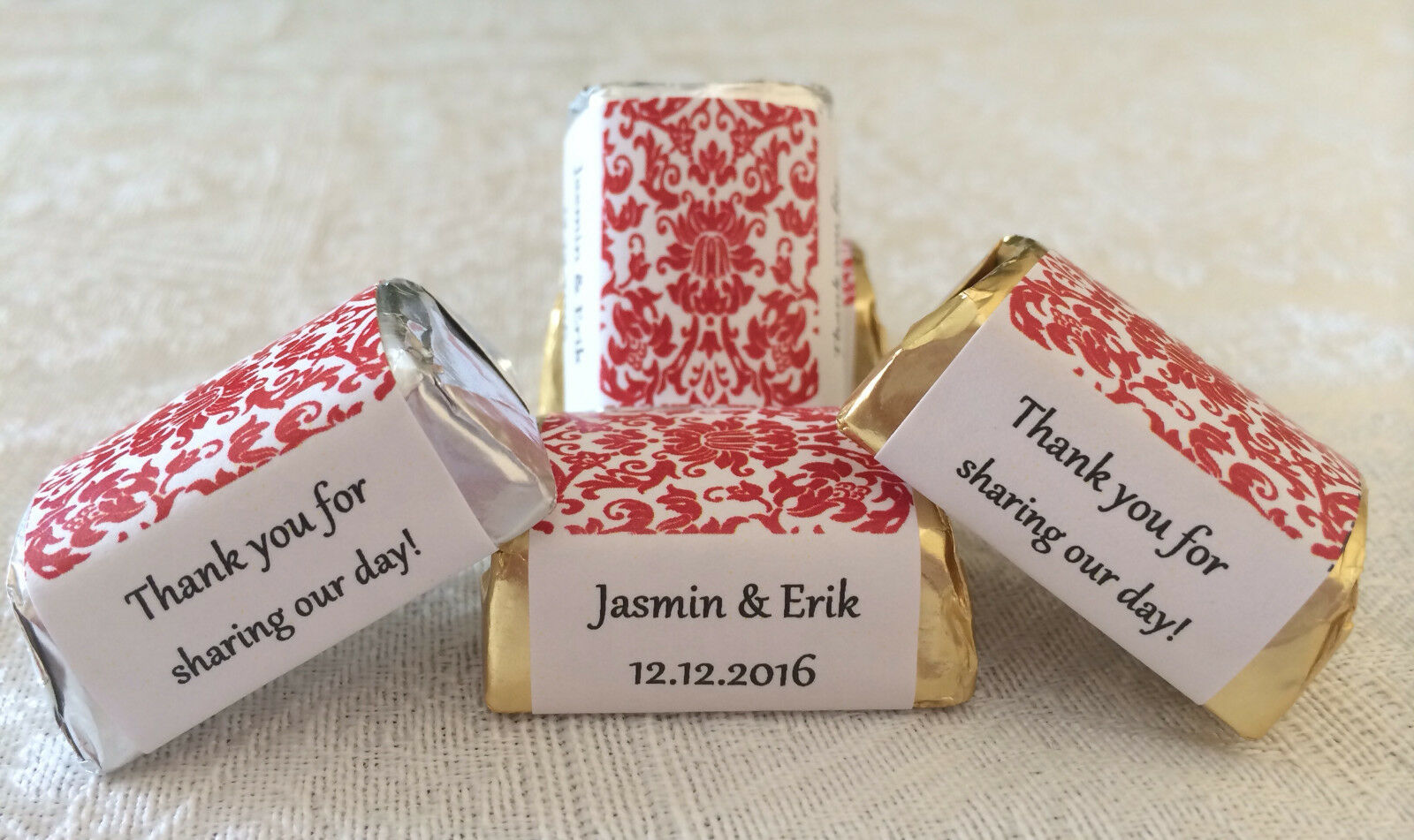 120 RED DAMASK Personalized Candy labels/wrappers/stickers for wedding/party - $10.88