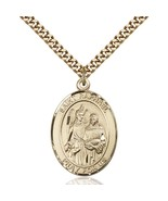 Handcrafted 14k Gold Filled St. Raphael The Archangel Oval Pendant With ... - $189.99