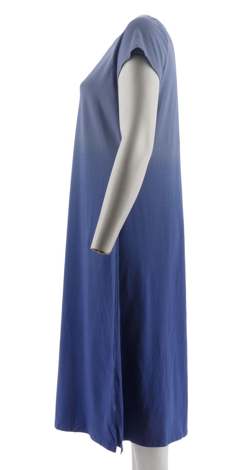 H Halston Short Slv Dip Dye Knit Midi Dress Purple Iris S NEW A289380 image 2