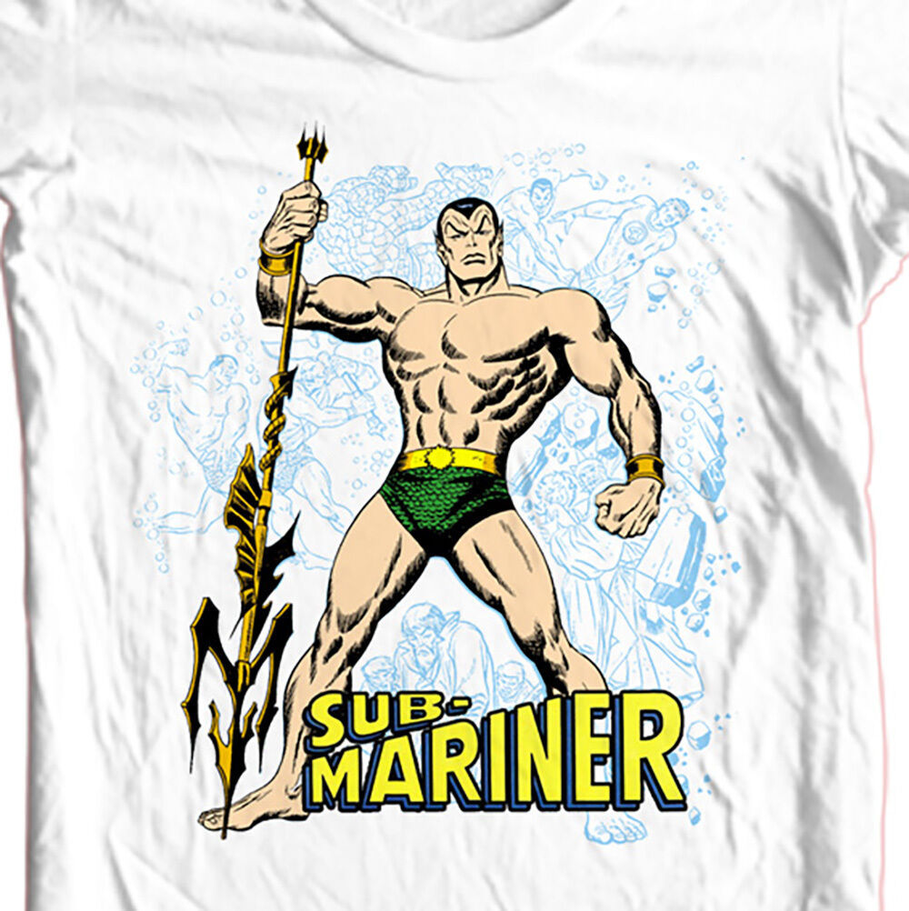 Sub-Mariner T-shirt Free Shipping vintage superhero comic book cotton white tee