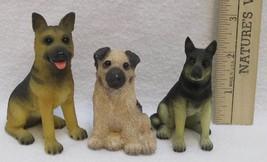 Dog Figurines German Shepherd Black Tan Puppy Ornament Small Resin Lot Of 3 - $14.84