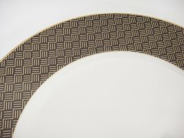 """Ralph Lauren Hastings Chocolate 12"""" Chop Plate Round Platter Brown Gold Zigzags image 3"""