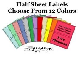 Colored Shipping Labels 8.5x5.5 Half Sheet Self Adhesive eBay PayPal USP... - $1.99+